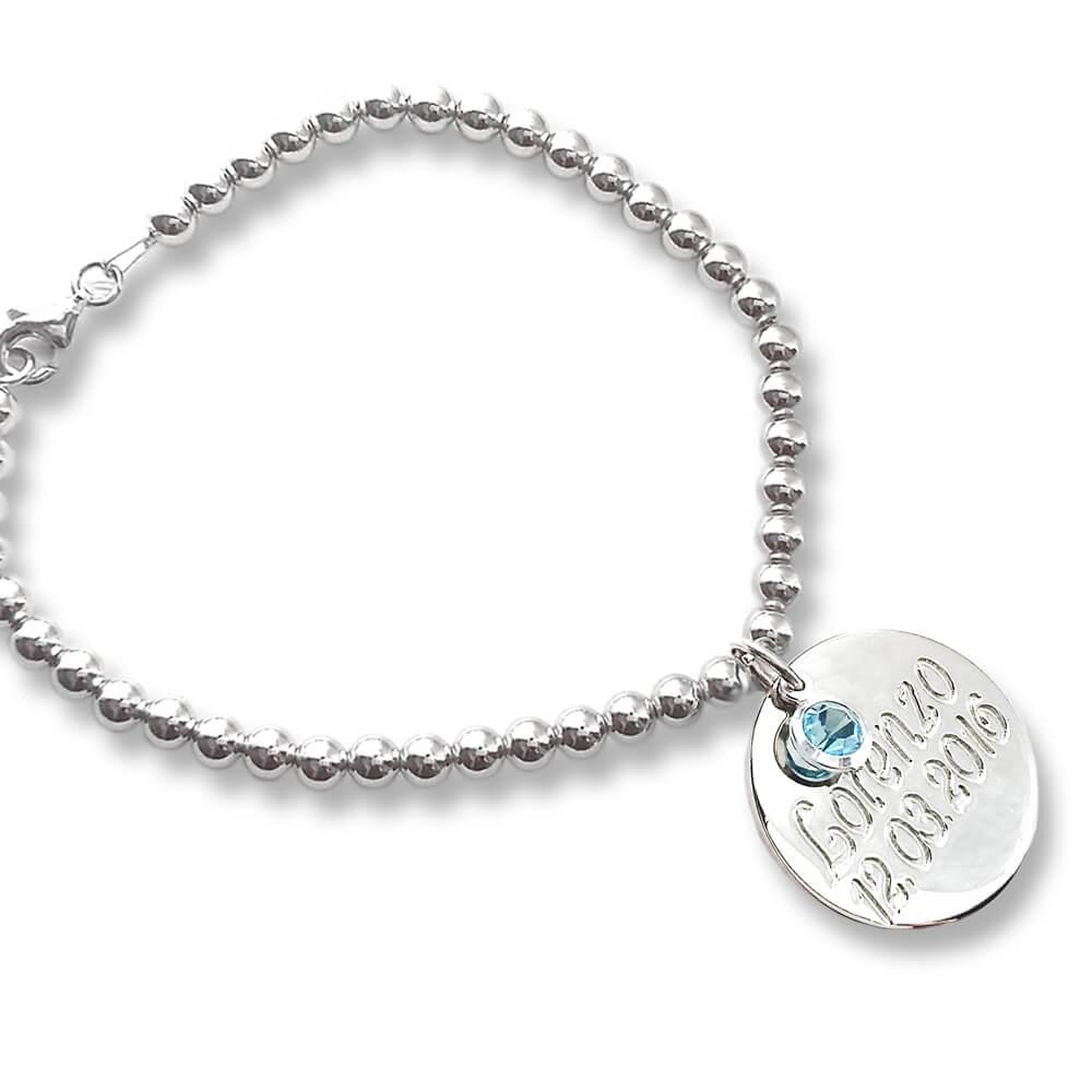 foto ufficiali gamma esclusiva qualità superiore Bracciale in argento con ciondolo e cristallo azzurro - Flores ...