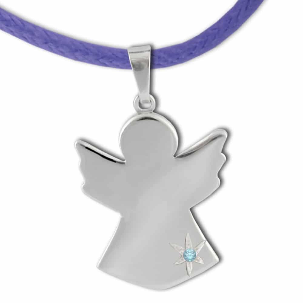 Ciondolo angelo custode con topazio azzurro flores gioielli - Custode con alloggio ...