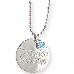Collana in argento con ciondolo e cristallo azzurro