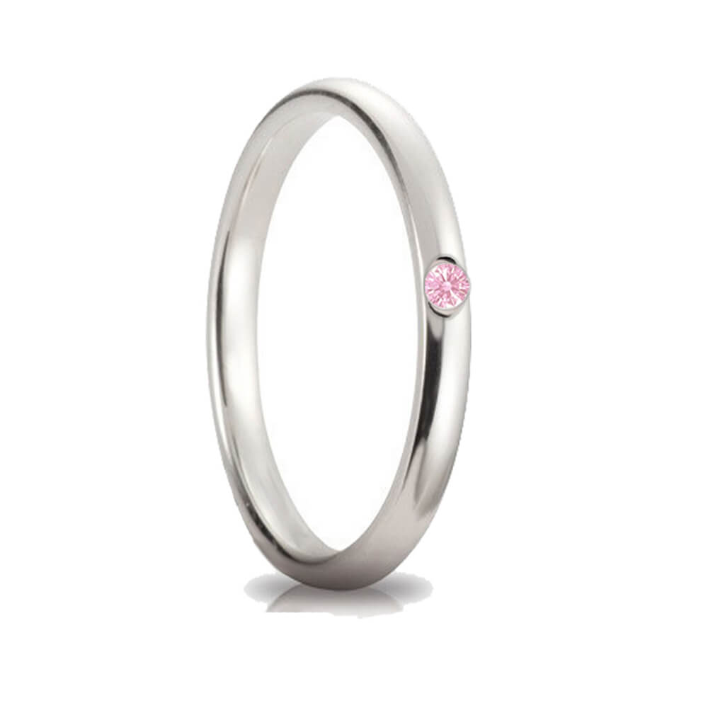 Fedina con cubic zirconia rosa