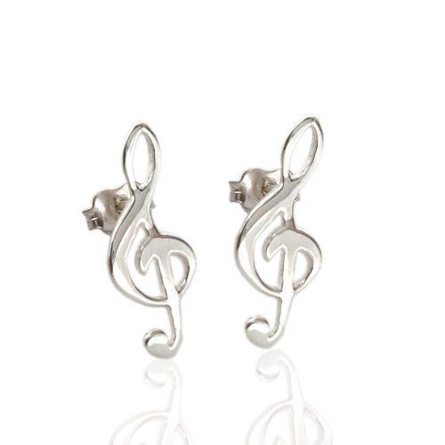 orecchini in argento con chiave di violino