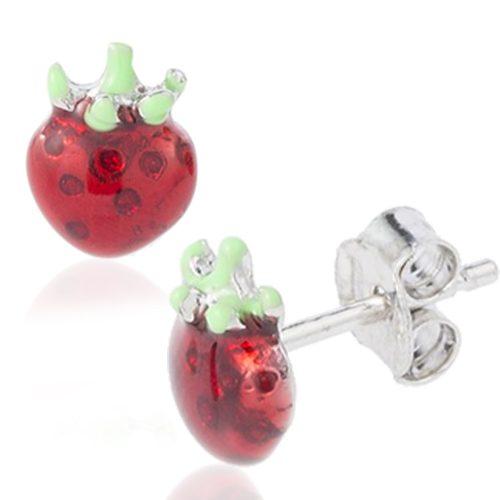 orecchini in argento con fragole smaltate