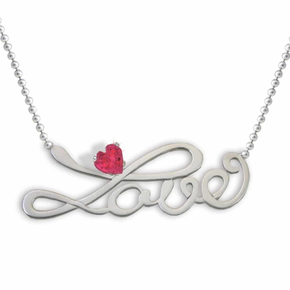 economico per lo sconto 31530 a1b4a Collana scritta Love con zircone cuore rosso - Flores Gioielli