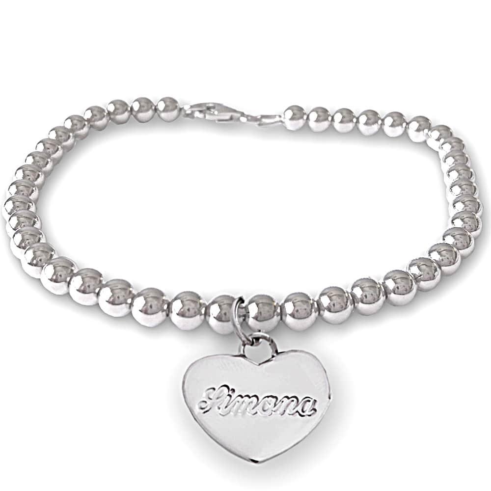 braccialetto con cuore e nome