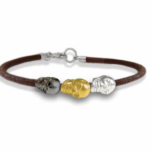 braccialetto cuoio con teschi 3colori