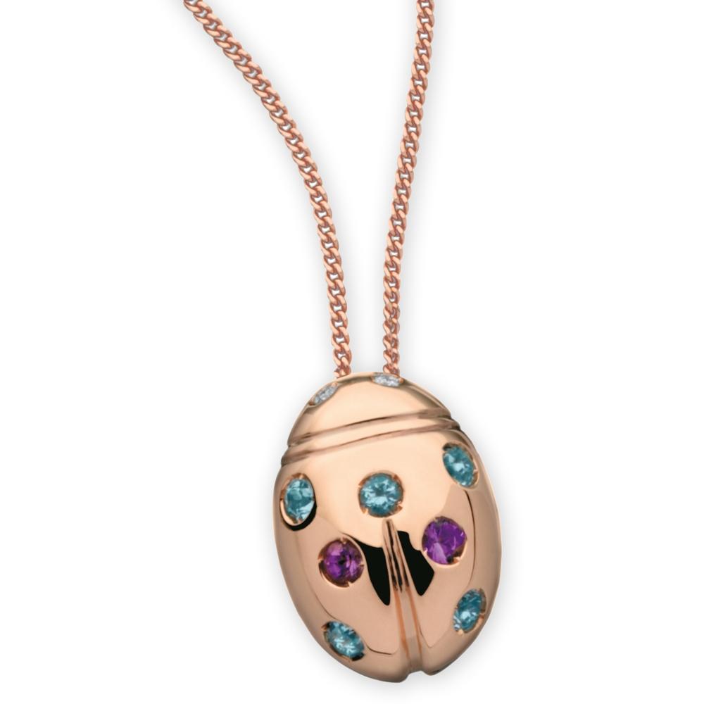 autentico 069ce b5db0 Collana con ciondolo coccinella in oro rosa - Flores Gioielli