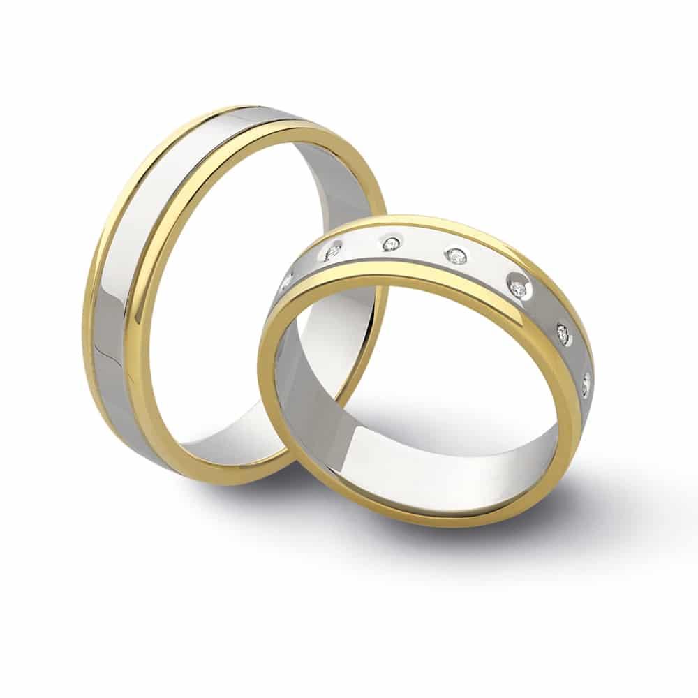 selezione premium f3d17 f30c6 Fedi oro bianco e giallo con diamanti - Flores Gioielli