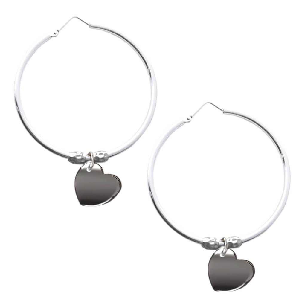 informazioni per 239f9 79bc0 Orecchini a cerchio in argento con cuore e pepite - Flores Gioielli