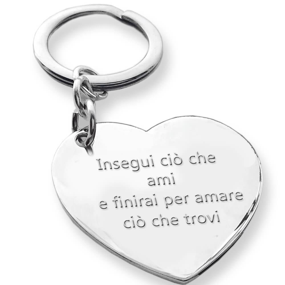 Scritta Love in corsivo Portachiavi con ciondolo Love in argento massiccio