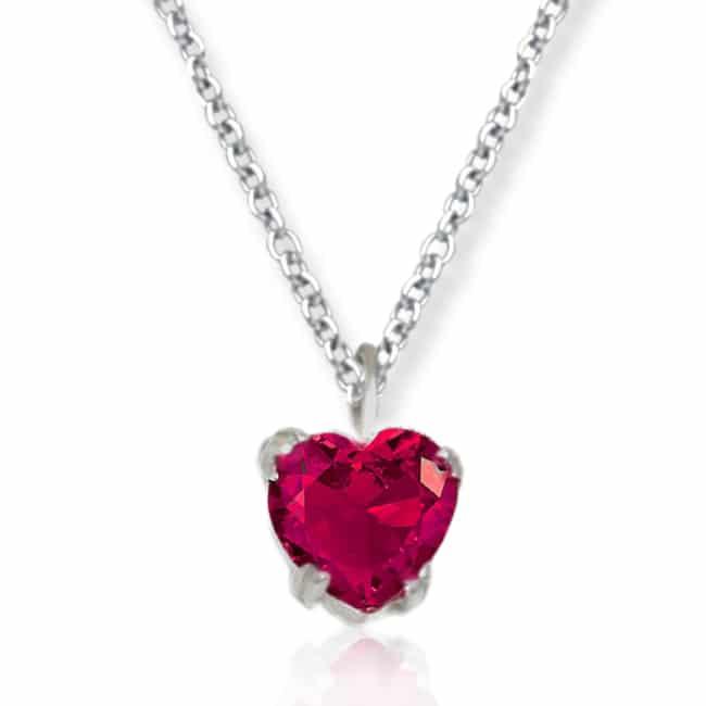 comprare on line 96bb7 7b736 Collana con zircone a cuore rosso - Flores Gioielli