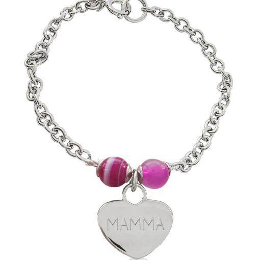 Braccialetto in argento con cuore inciso, impreziosito da agata rosa