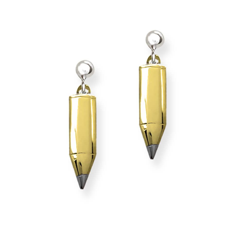 Orecchini in argento 925 dorato con matita pendente