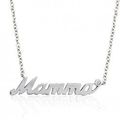 Collana Mamma in argento 925 con pietra preziosa a scelta