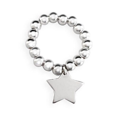Anello elastico in argento 925 con stellina pendente
