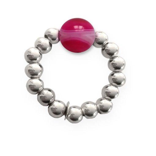 Anello elastico in argento 925 con agata rosa striata