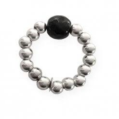 Anello elastico in argento con cristallo nero