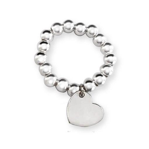 Anello elastico in argento 925 con cuore pendente