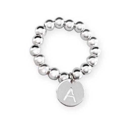 Anello elastico in argento 925 con charm personalizzato