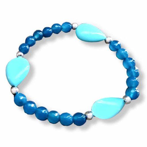 Braccialetto in argento con agata blu