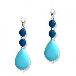 Orecchini in argento con agata blu