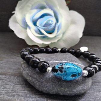 braccialetto cristalli neri