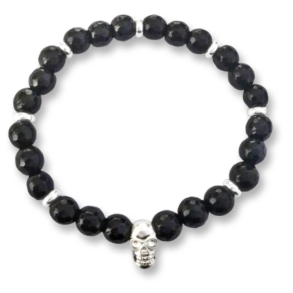 Braccialetto elastico con cristallo nero e teschio in argento 925