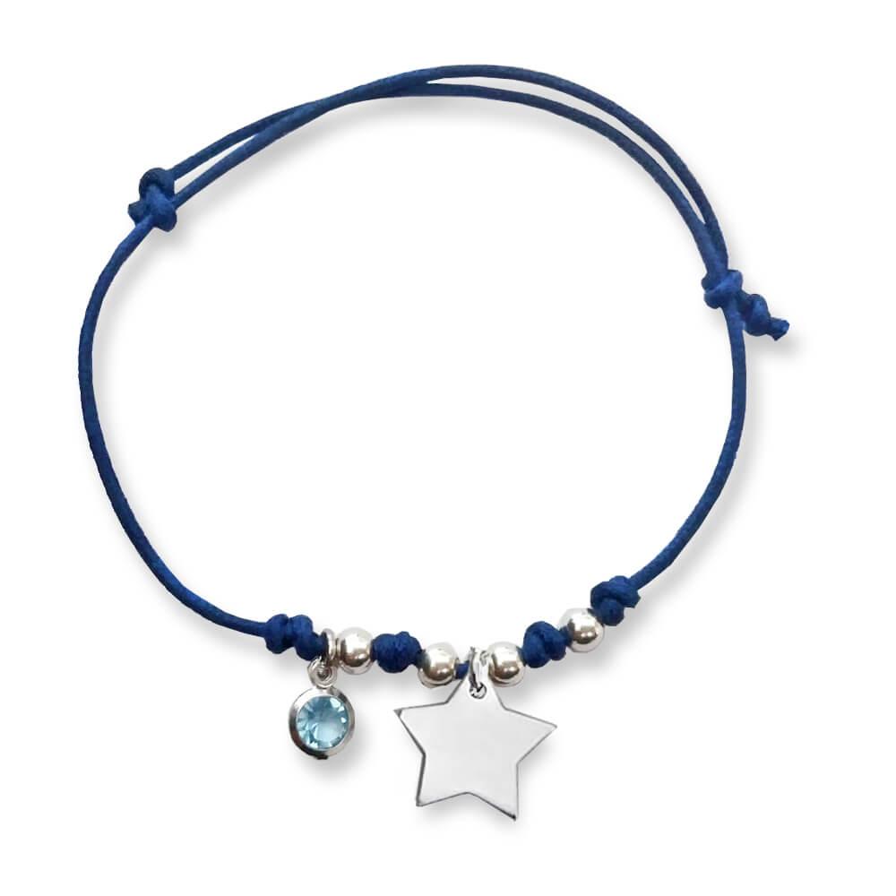 Braccialetto in cordino cerato con pendente forma di stellina e cristallo azzurro