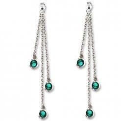 Orecchini con cristalli verde smeraldo