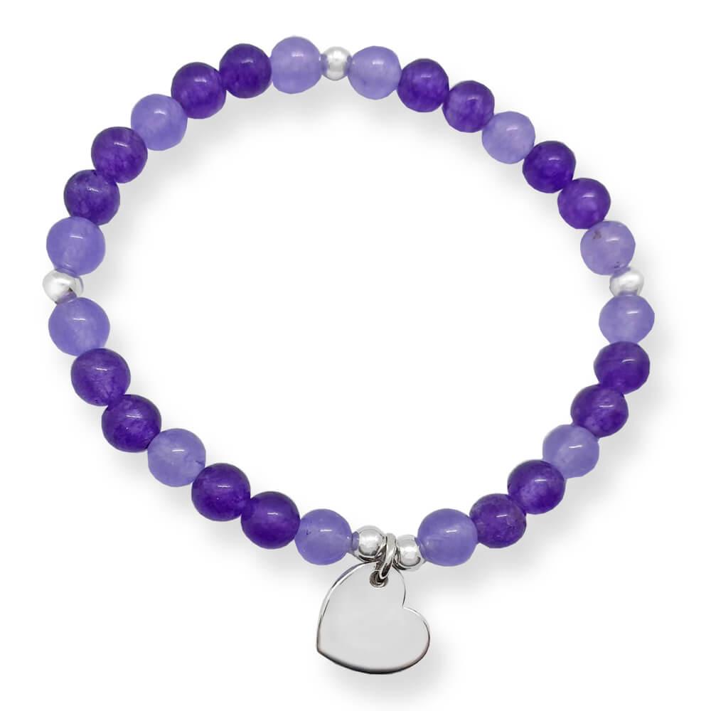 Braccialetto elastico con giada viola e cuore pendente