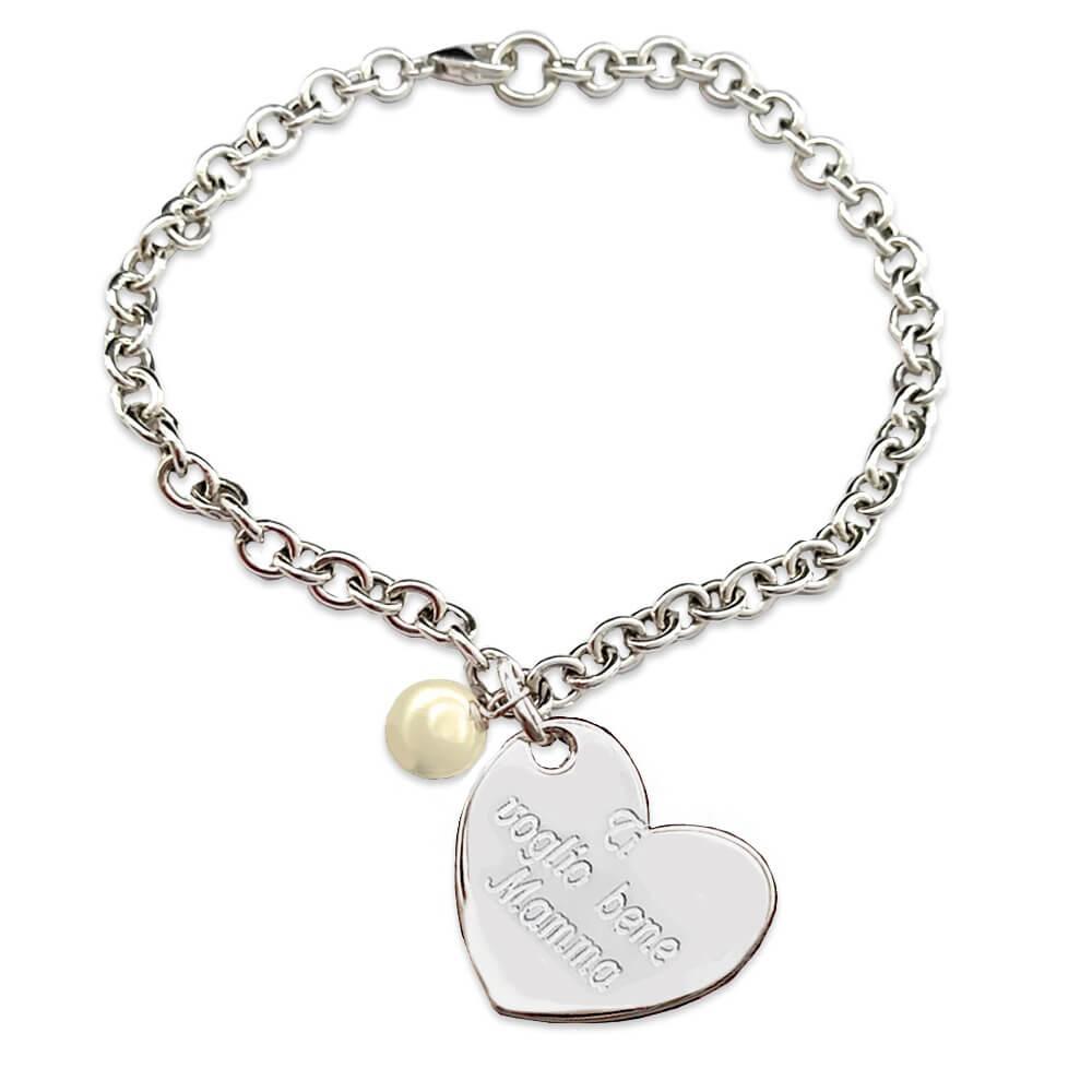 Braccialetto in argento con perla ti voglio bene mamma