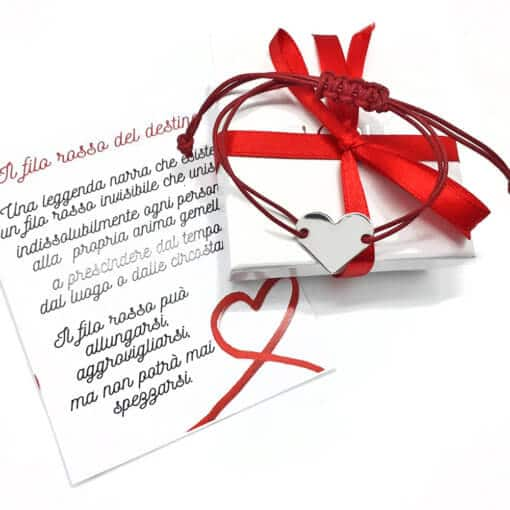 braccialetto filo rosso del destino con cuore