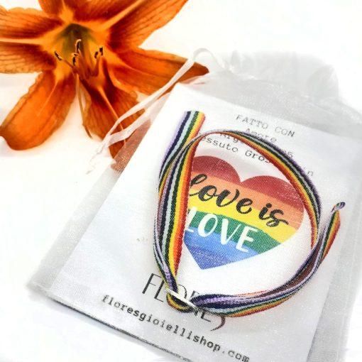 Braccialetto Love Is Love in tessuto Gros Grain e chiusura in argento 925